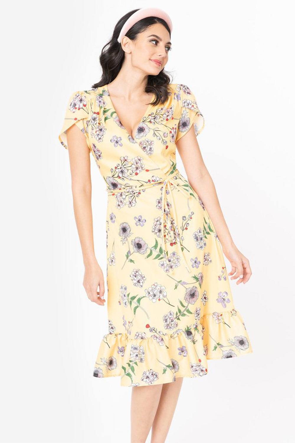 Yellow & Ivory Floral Hide & Go Chic Midi Dress by Smak Parlour