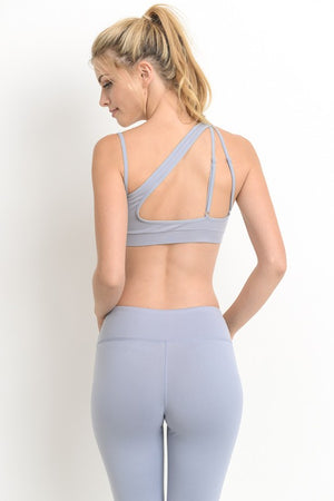Dusty Blue Asymmetrical Strap Open Back Sports Bra
