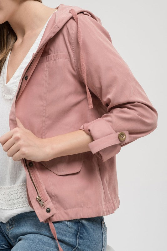 Pink Lightweight Hooded Utility Jacket