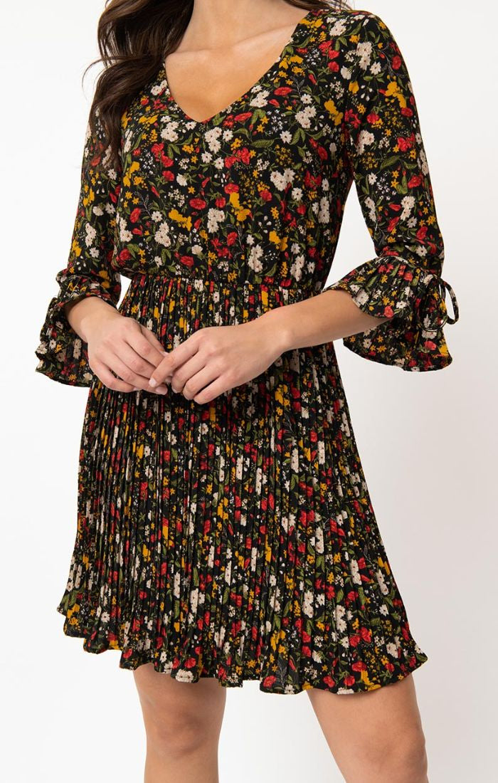 Pre Order: Multi Floral Lead Like A Girl Pleated Dress by Smak Parlour