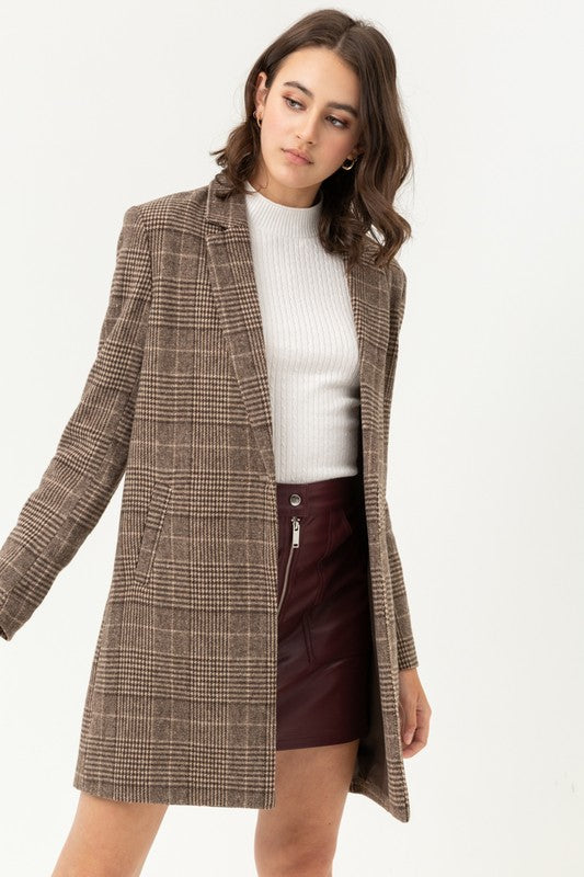 Down To Business Brown Plaid Duster