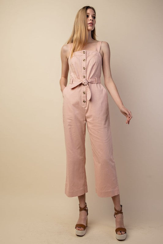 Never Belt Better Blush Button Up Jumpsuit with Tie Waist