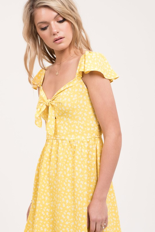 Just Wanna Have Sun Yellow Flutter Sleeve Strap Dress with Tie Front