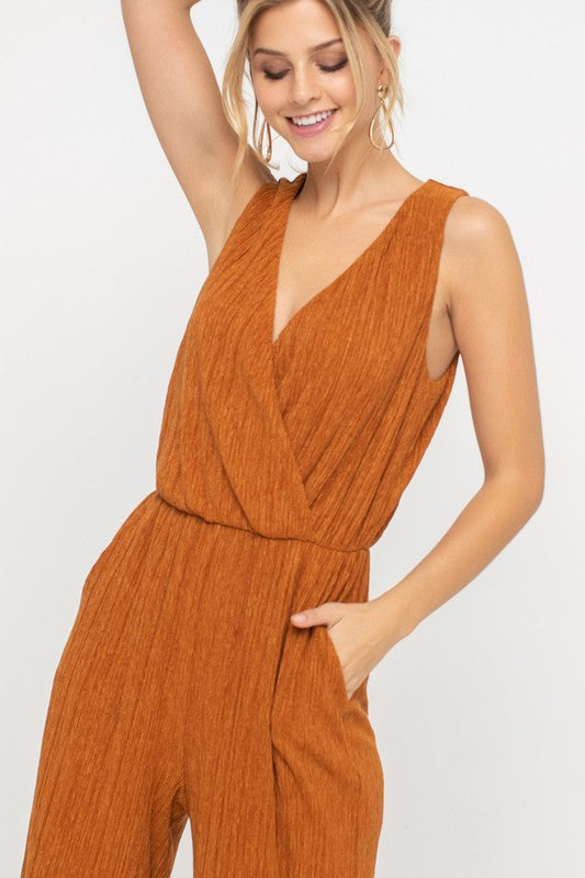 Rust Issues Plisse V Neck Wide Leg Jumpsuit
