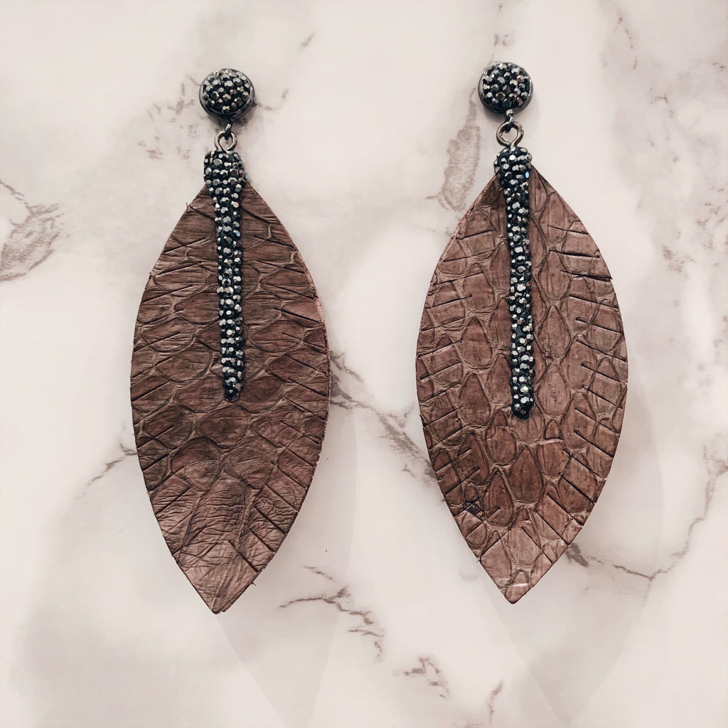 Snake Print Leather Feather Drop Earrings