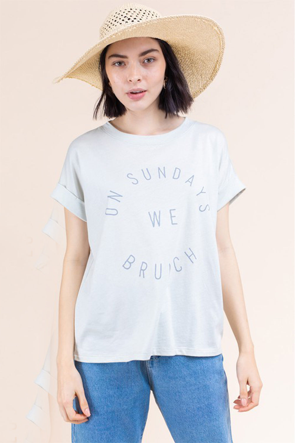 """Sunday Brunch"" Seafoam Green Knotted T Shirt"