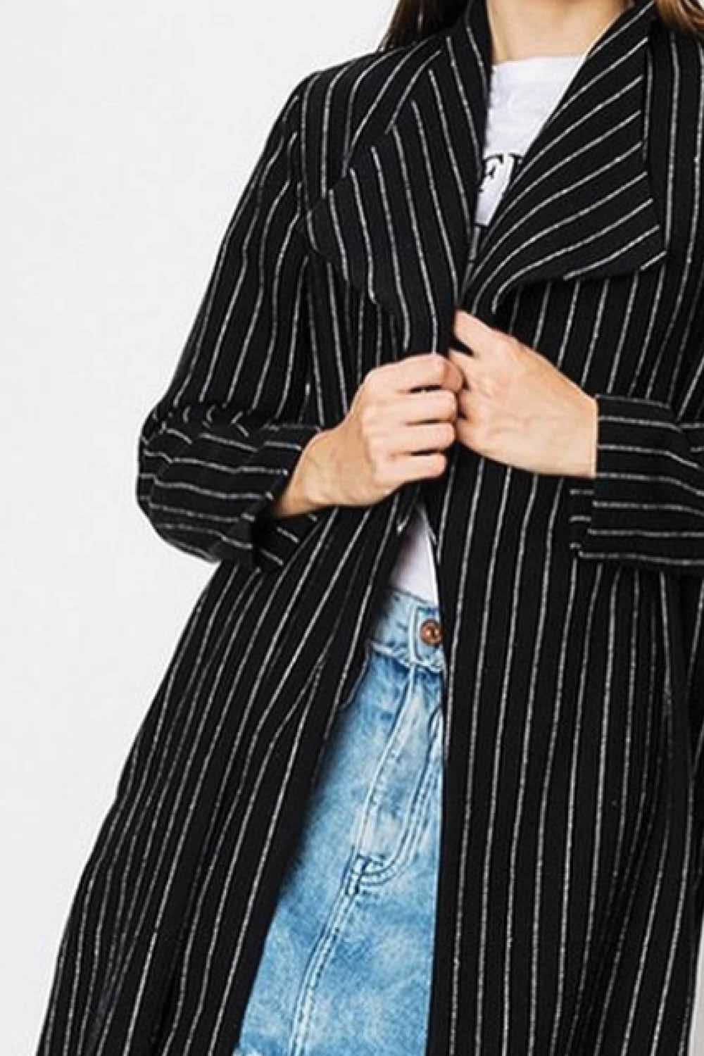 Black & White Pinstripe Duster