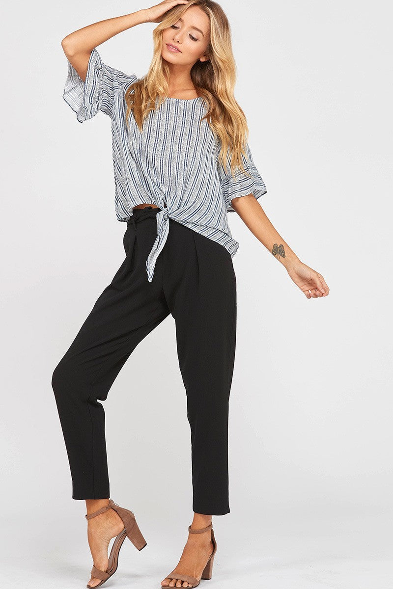 Out of Line Striped Dolman Knotted Top