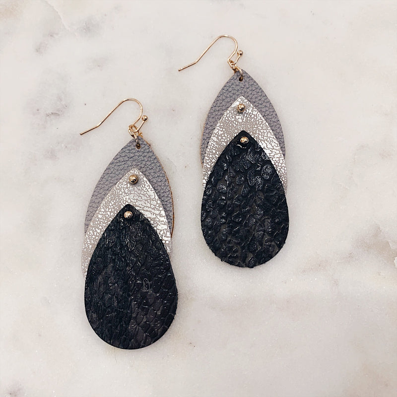 Three Tier Tear Drop Snake Skin Earrings