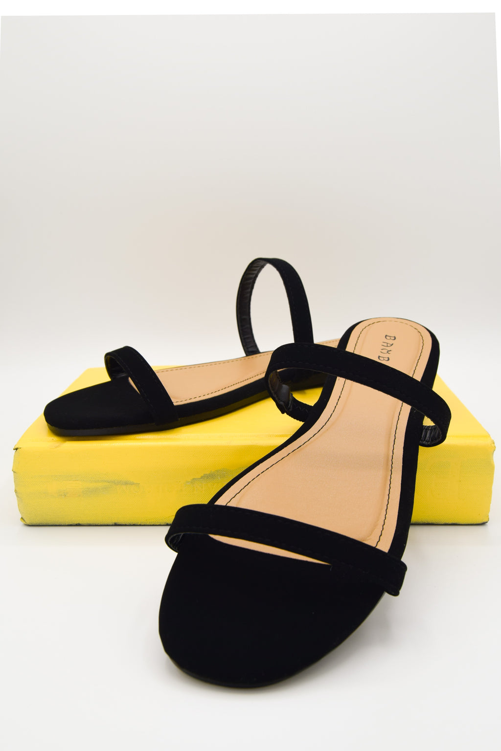 Simple As That Black Simple Strap Flat Sandal