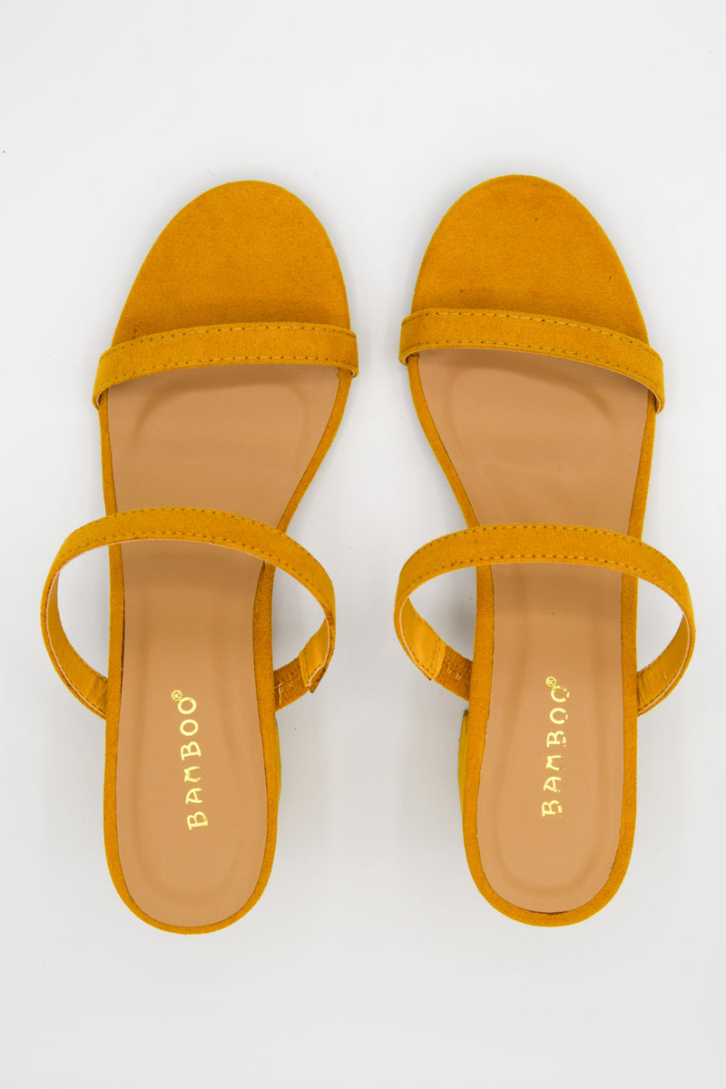 Strap In Yellow Slip On Heeled Sandals
