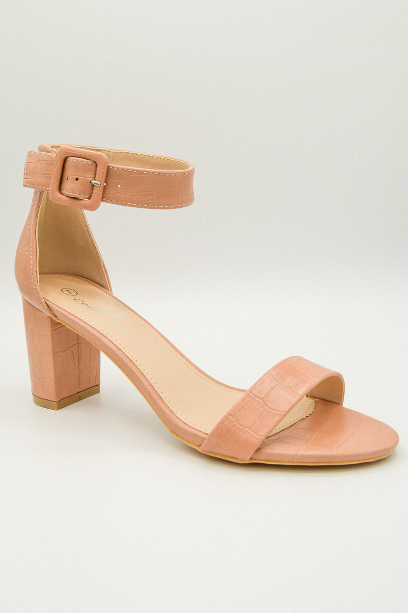 Ready or Croc Pink Crocodile Buckle Heels