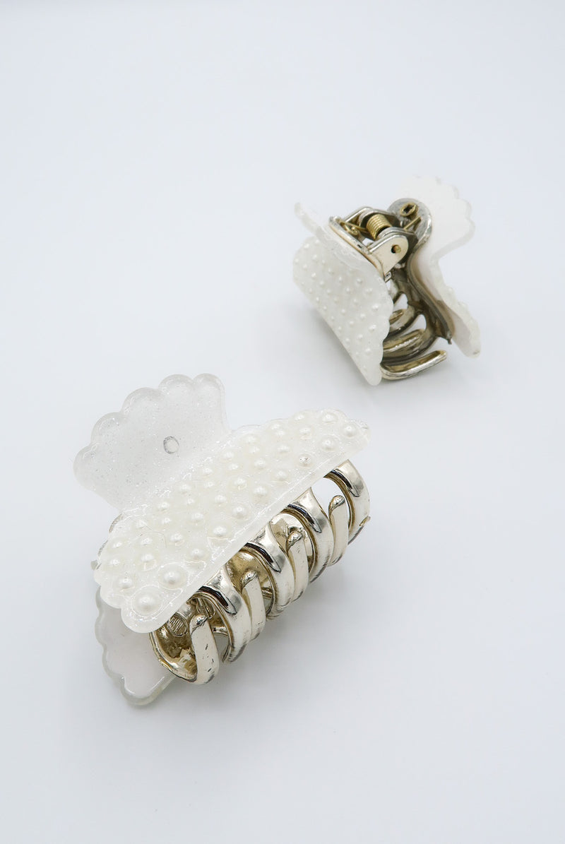 'Hold My Pearls' Lucite Hair Clips (Pack of 2)
