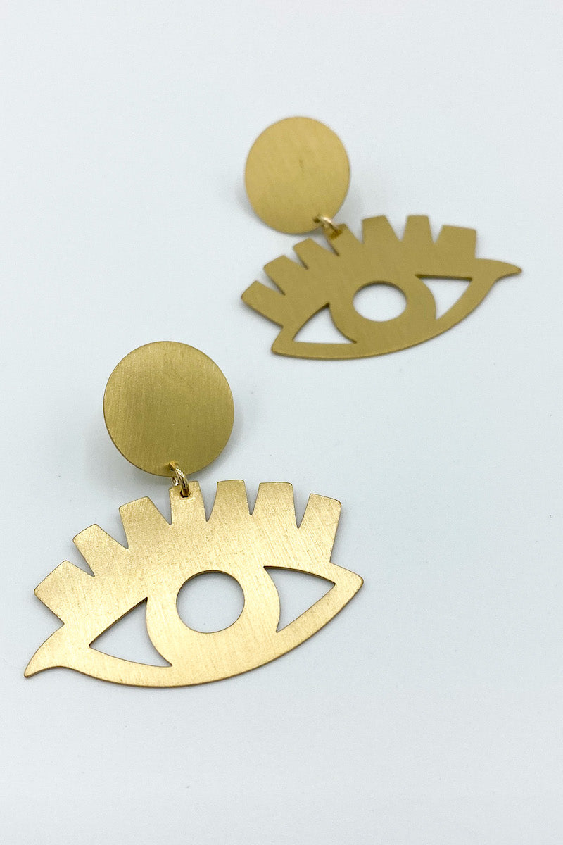 Brushed Metal Eye Earrings