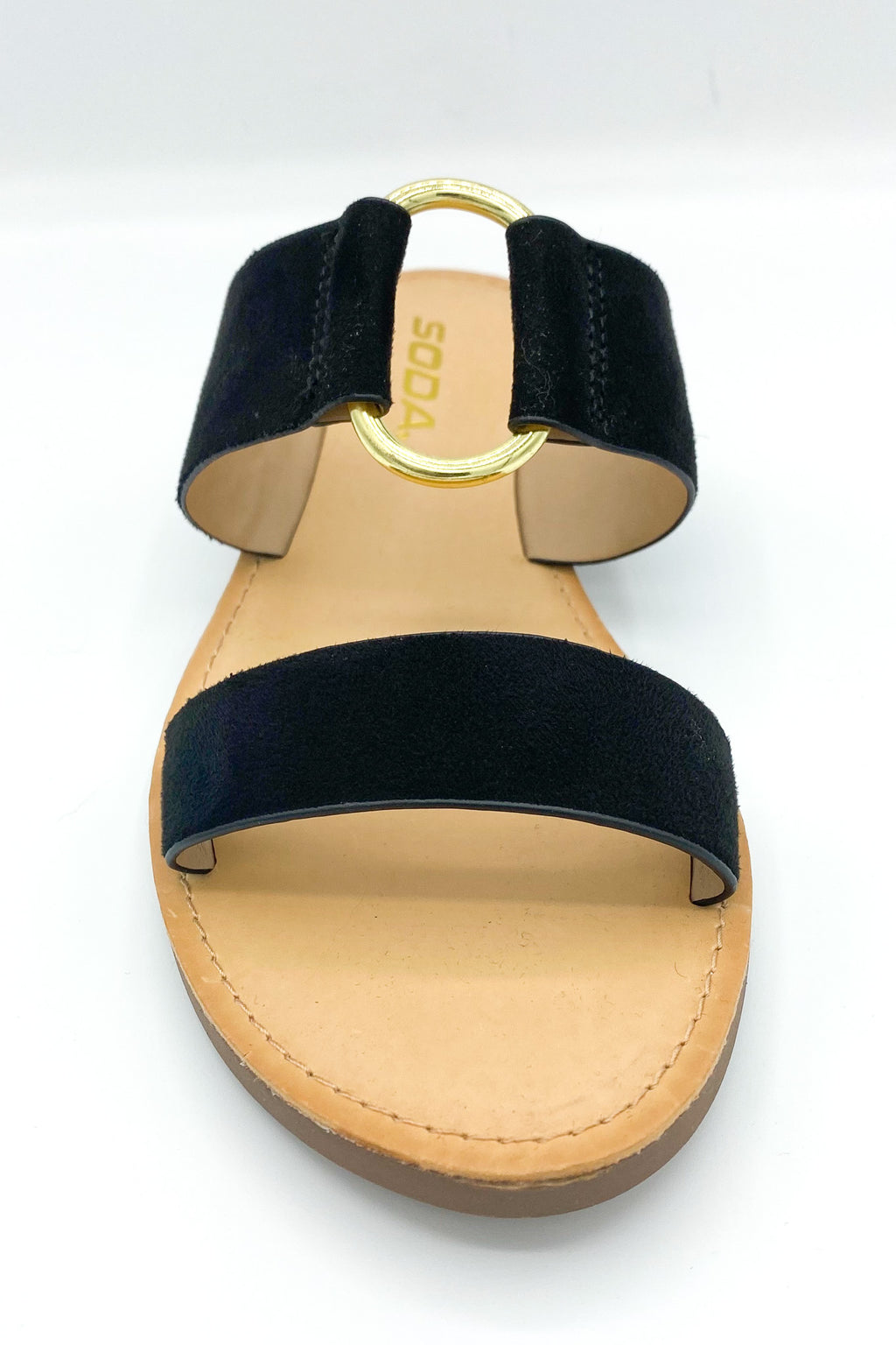Black Double Strapped Flat Sandal