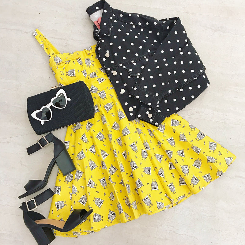 Mellow Yellow Owl- Fit & Flare Dress