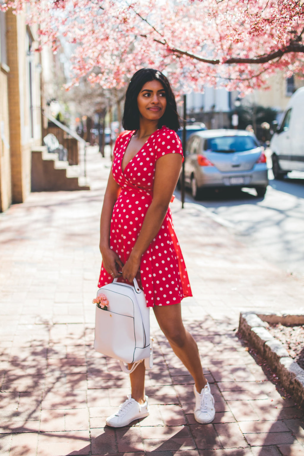 Fuchsia + White Polka Dot Wrap Dress