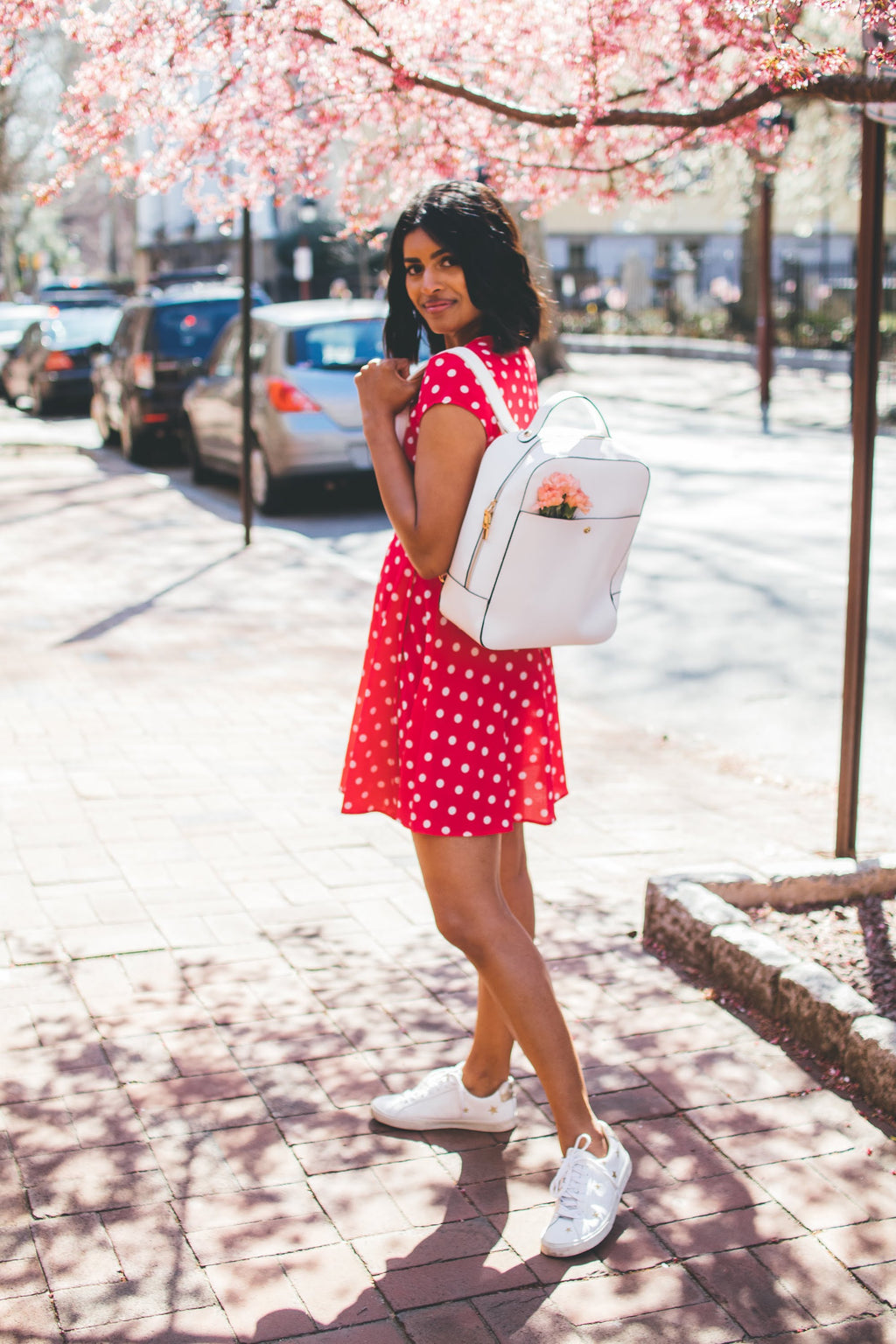 Fuschia + White Polka Dot Wrap Dress