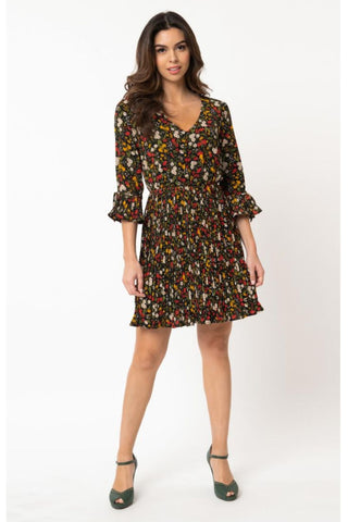 Copy Cat Black Button Up Collar Dress