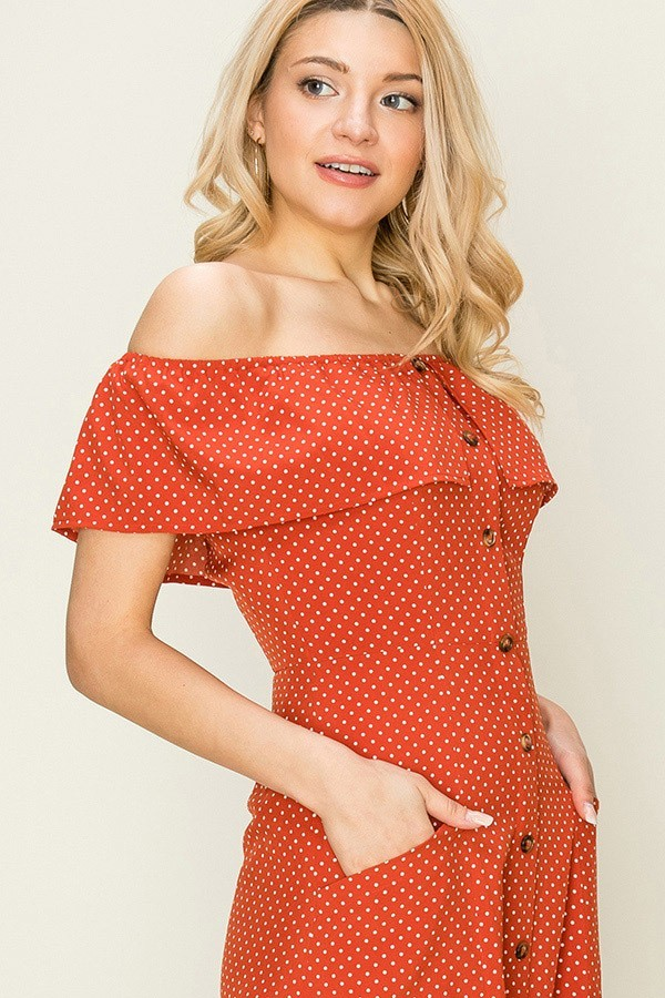 Rust Polka Dot Button Up Dress