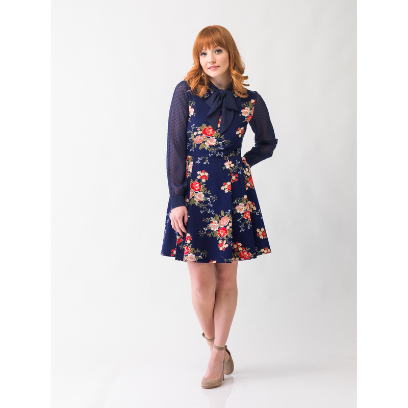 For Keeps Fit and Flare Dress in Navy