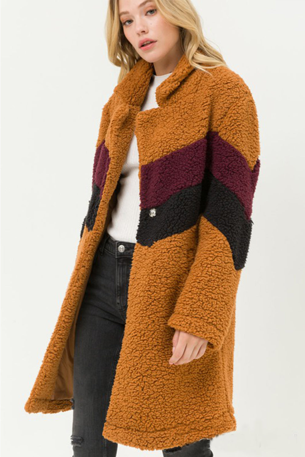 Go Fur It Camel Striped Teddy Coat