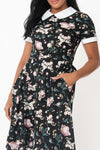 Black Floral Babe Revolution Swing Dress By Smak Parlour