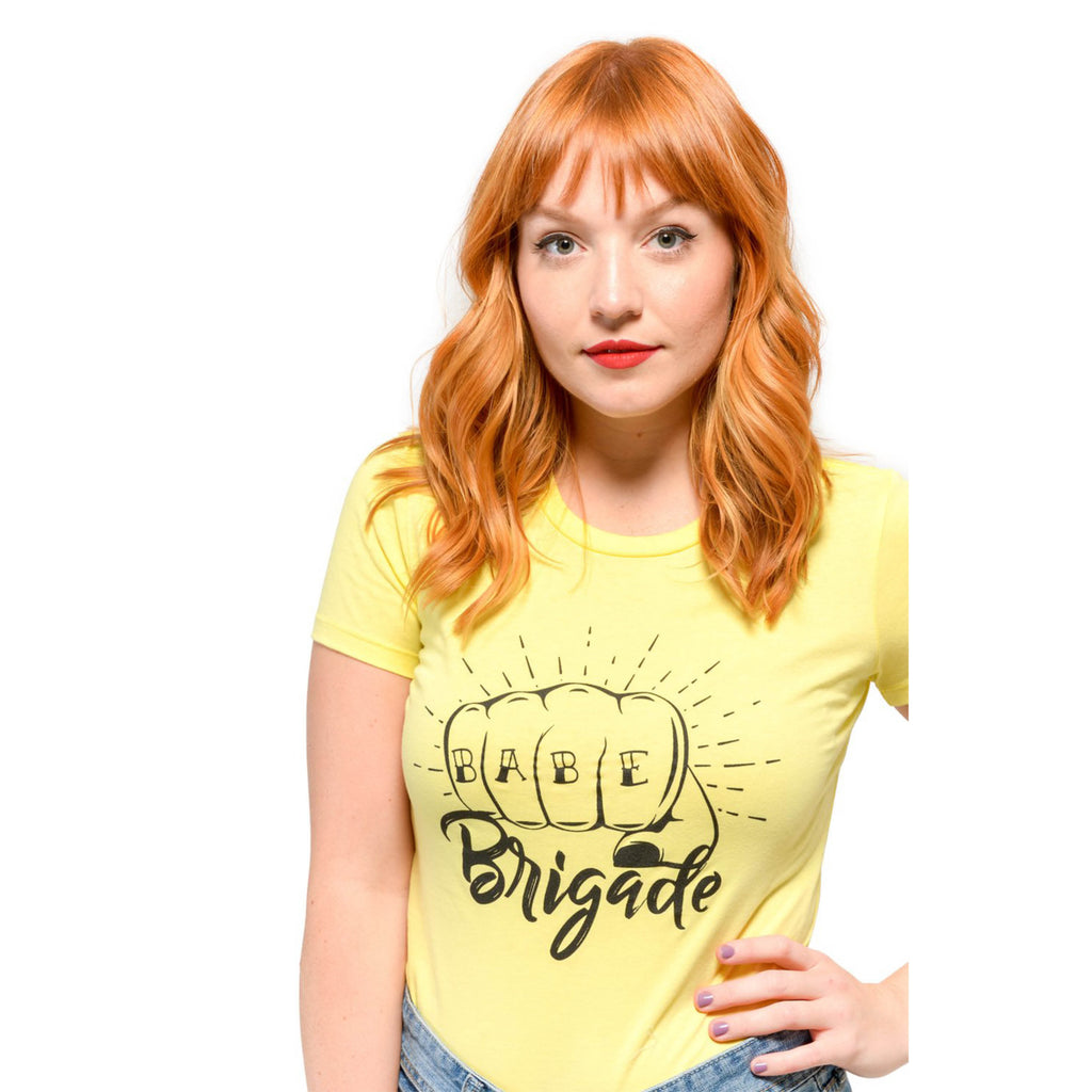 """Babe Brigade"" Yellow Short Sleeve Tee"