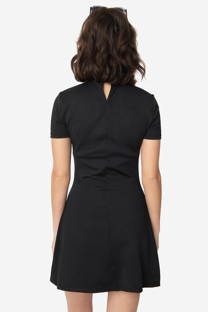 Black Wave Maker Mock Turtleneck Dress by Smak Parlour