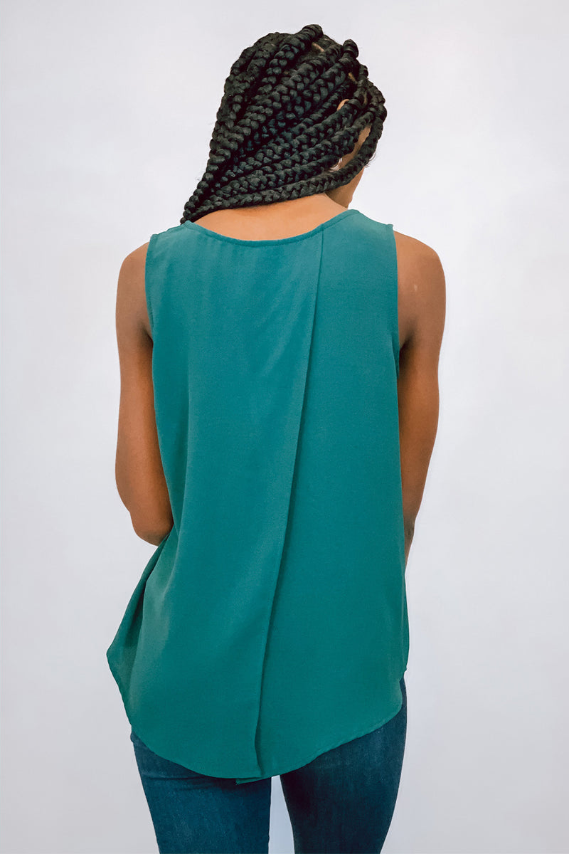 Green Sleeveless Top with Split Back