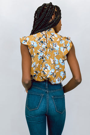 Mustard Floral Sparkle Keyhole Top