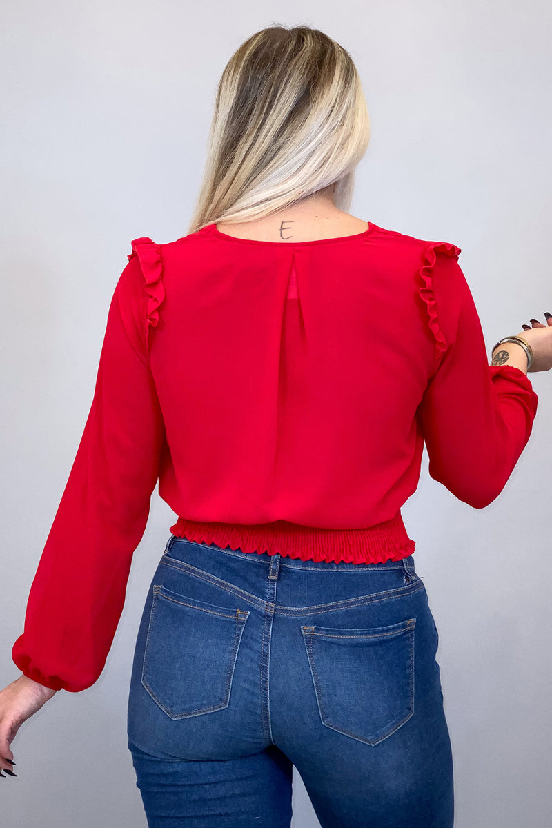Red Ruffle Long Sleeve Top with Smocked Bottom