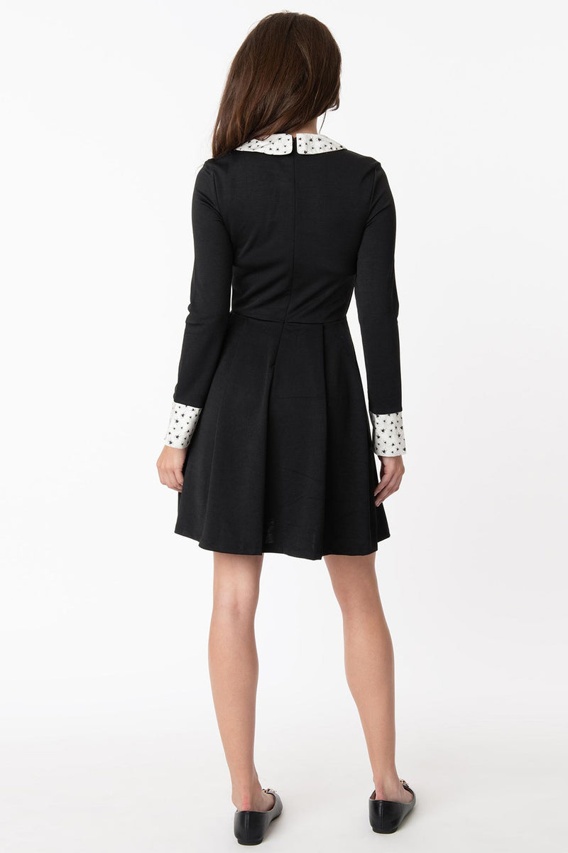 Black & Spider Print Collar New A-List Fit & Flare Dress by Smak Parlour