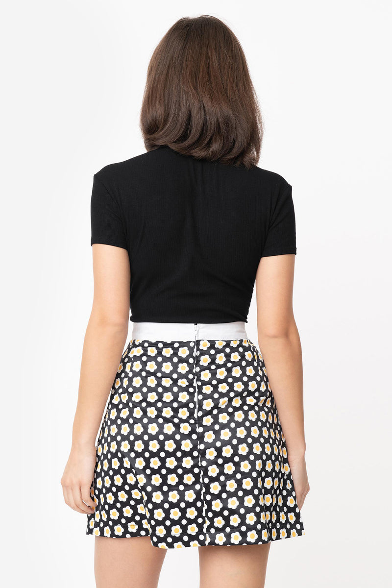 Black & Yellow Daisy Mod Skirt by Smak Parlour