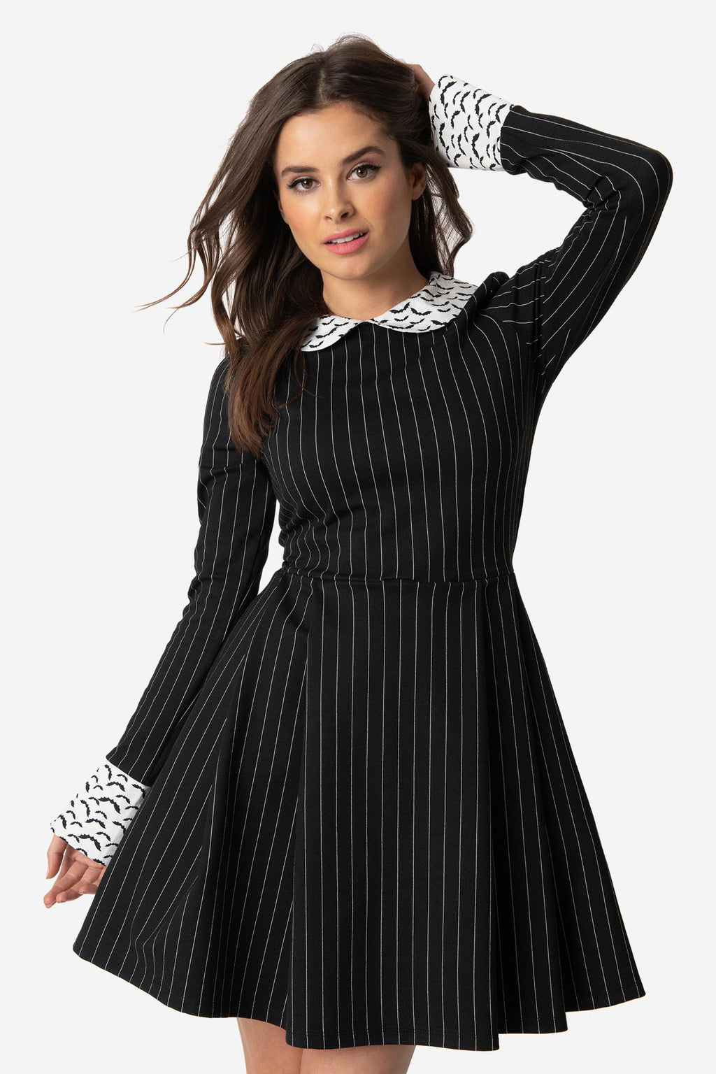 Black & White Pinstripe Bat Print Fit & Flare Dress by Smak Parlour