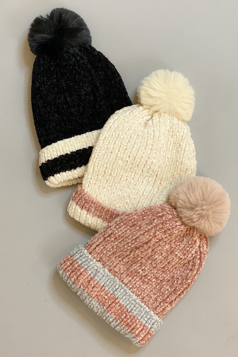 Chenille Double Striped Pom Pom Hat
