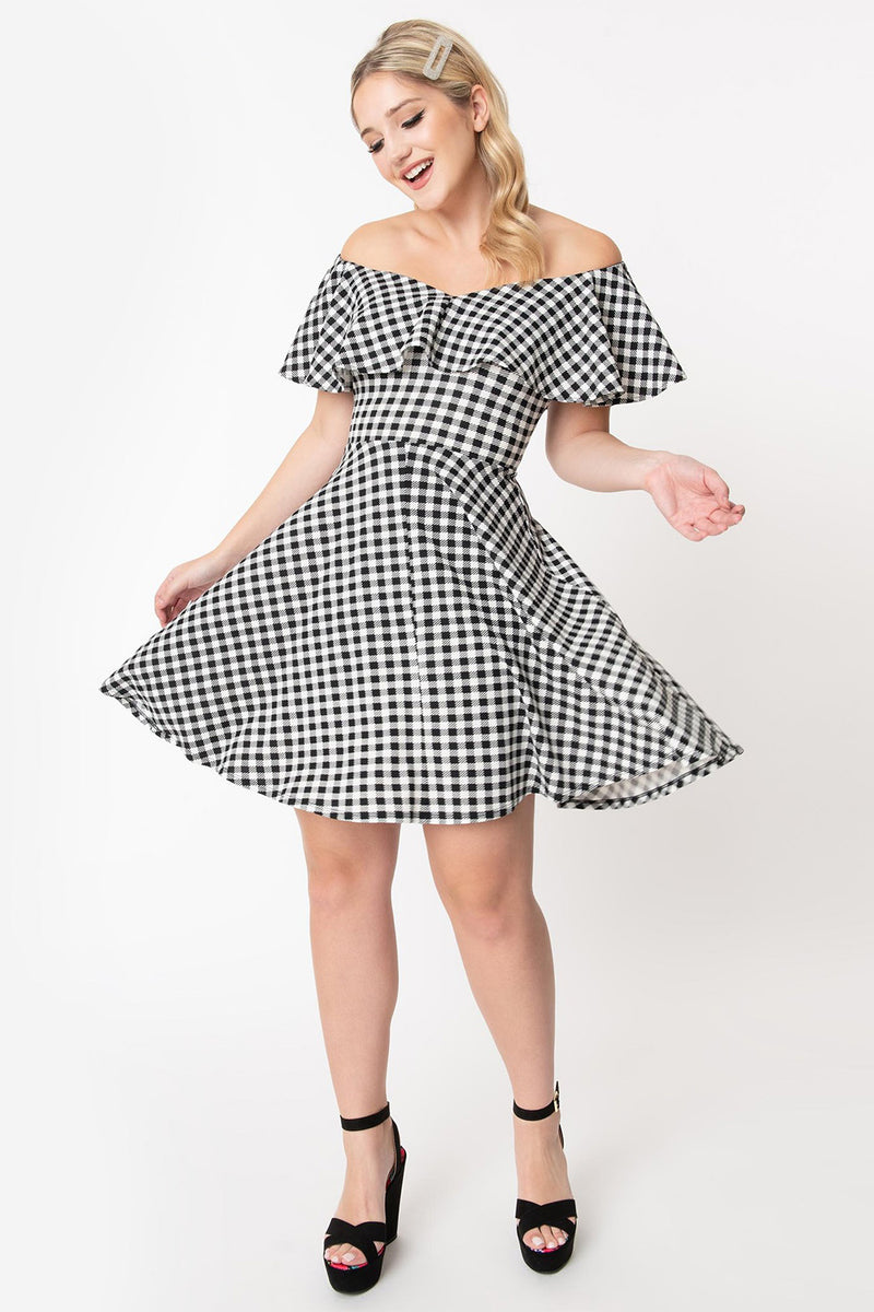 Black & White Gingham Off the Shoulder Fit & Flare Dress