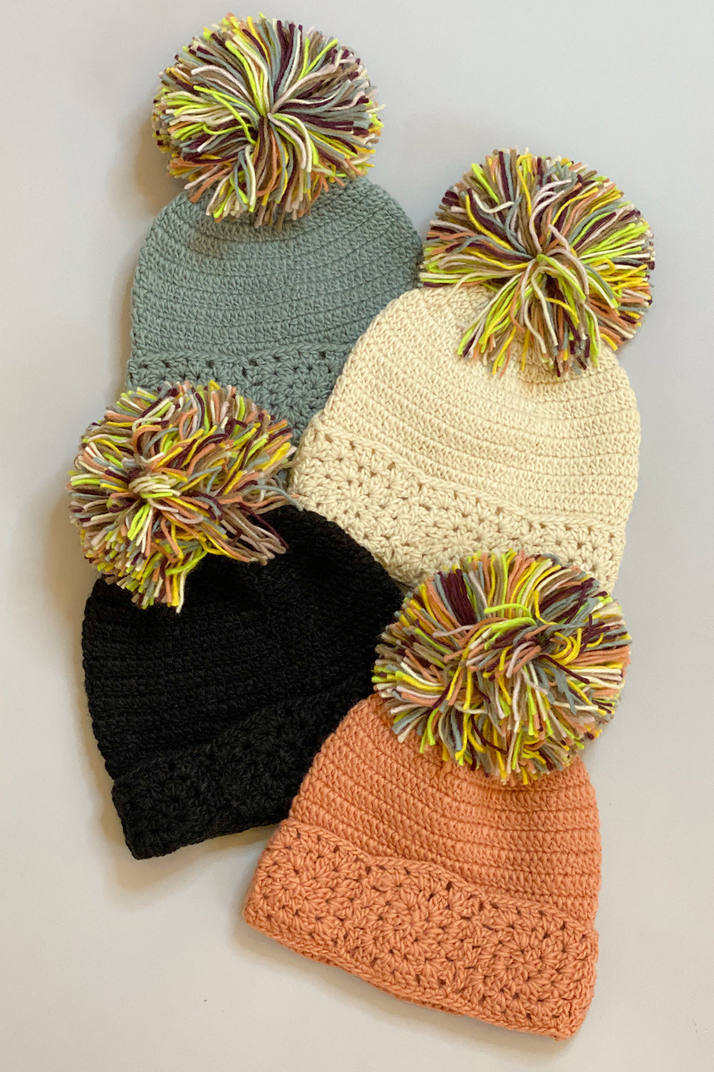 Knit Multicolored Pom Pom Hat