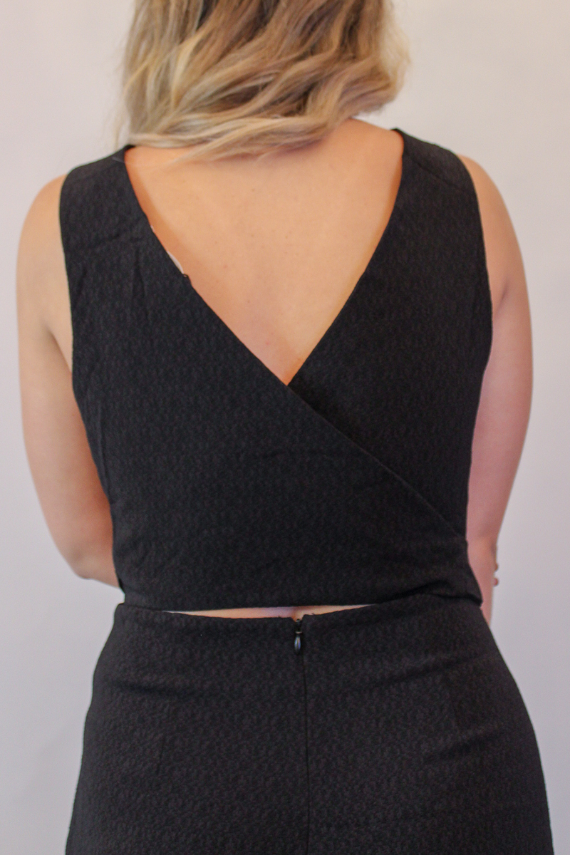 Black Jumpsuit with Cutout Back & Wrap Tie waist