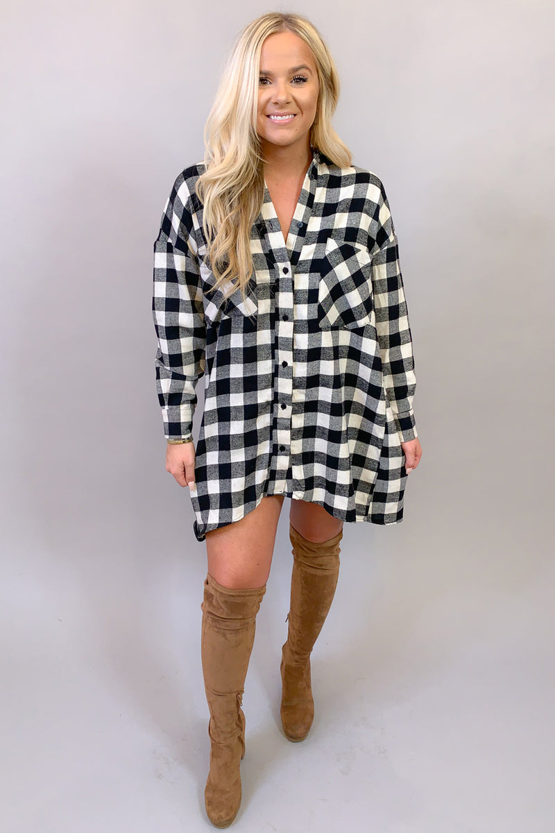 Big Check Energy Oversized Plaid Shirt Dress