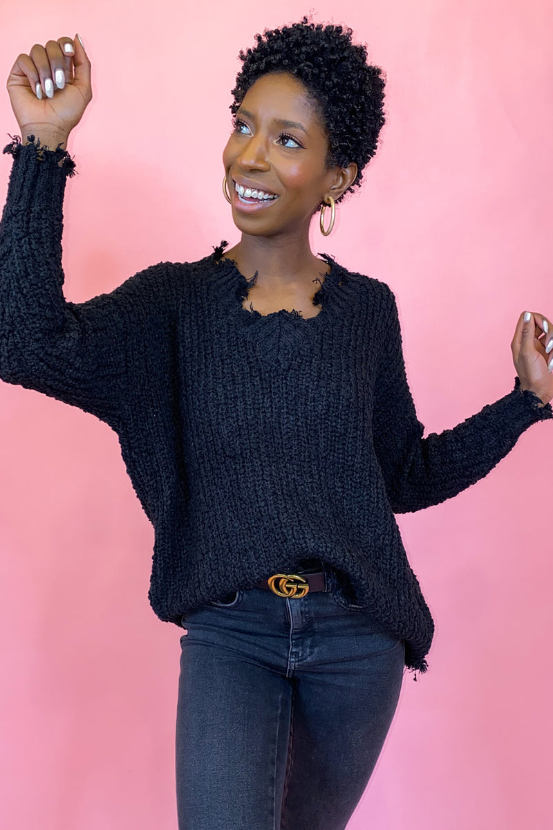 Black Distressed V Neck Sweater