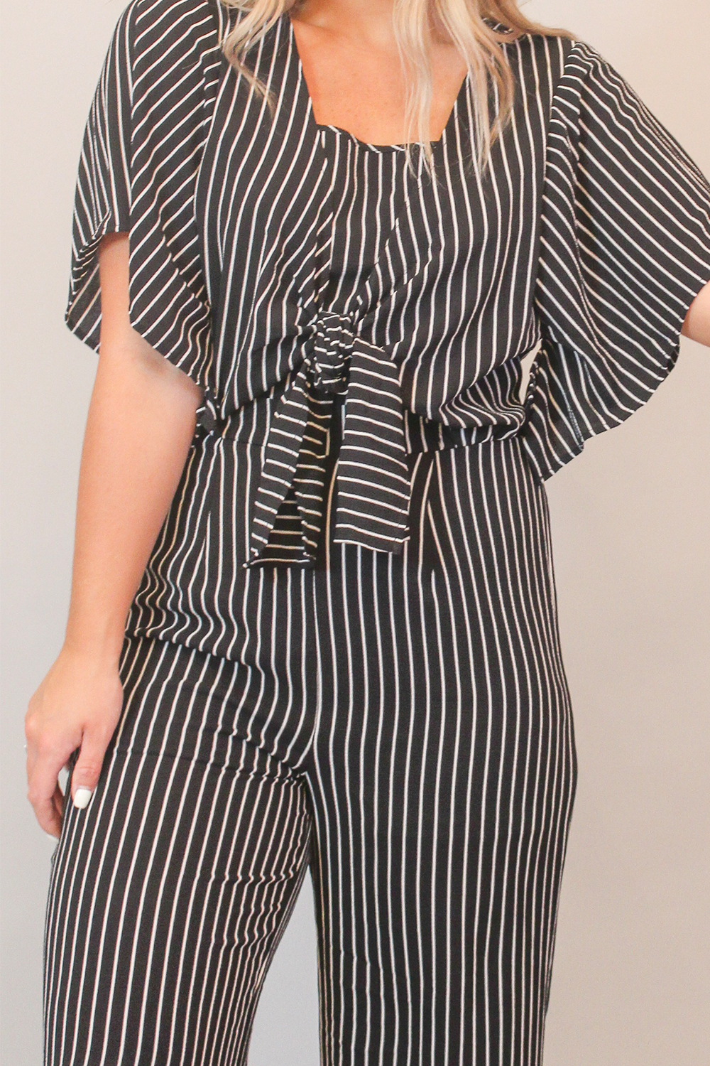 Black and White Striped Short Sleeve Jumpsuit with Front Tie
