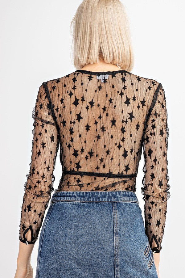 Starry Eyes Black Lace Bodysuit