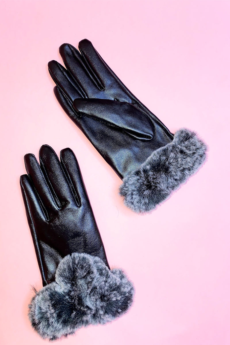 Faux Leather Gloves with Fur Cuff