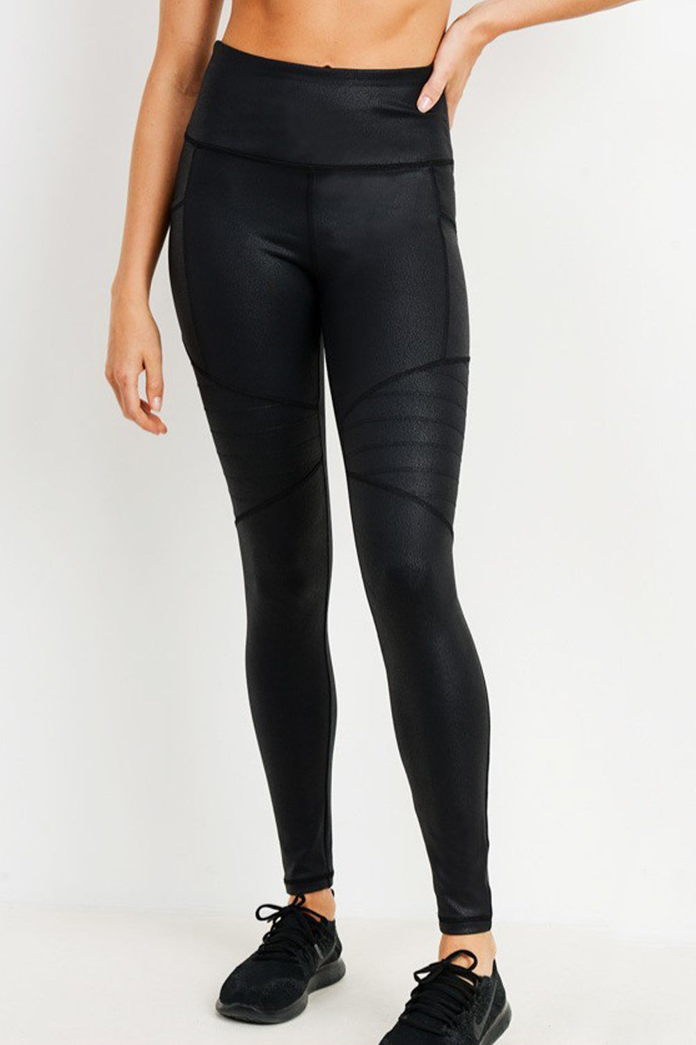 Black High Waisted Ribbed Workout Leggings with Metallic Sheen