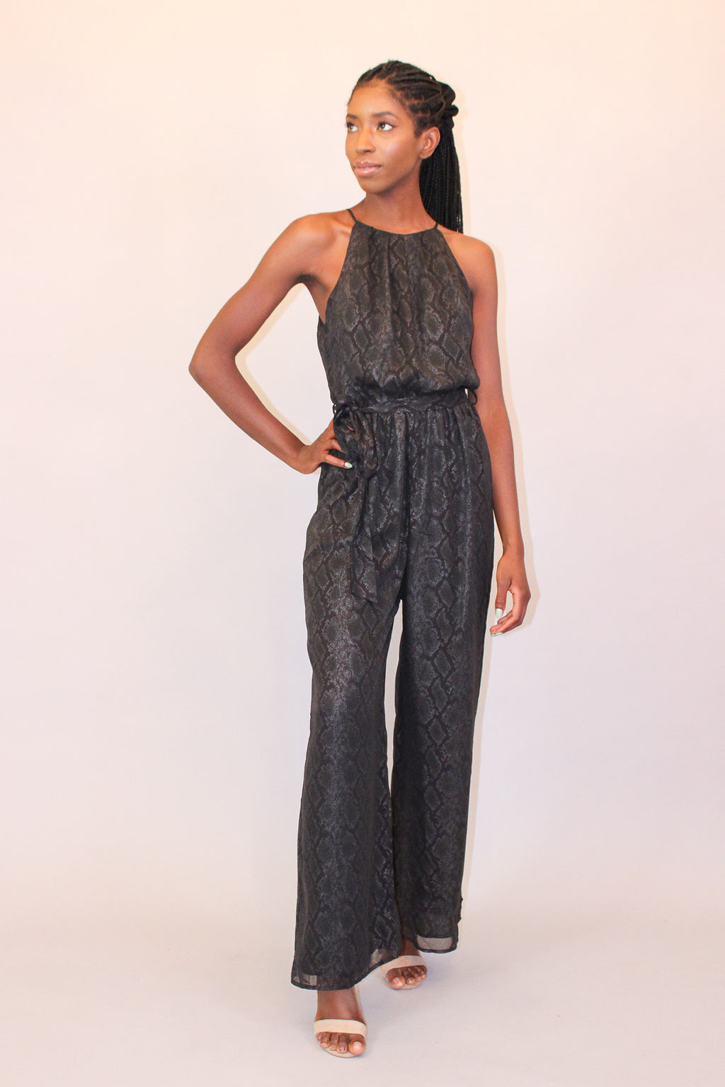 Snake it Off Black Snakeskin Sleeveless High Neck Jumpsuit