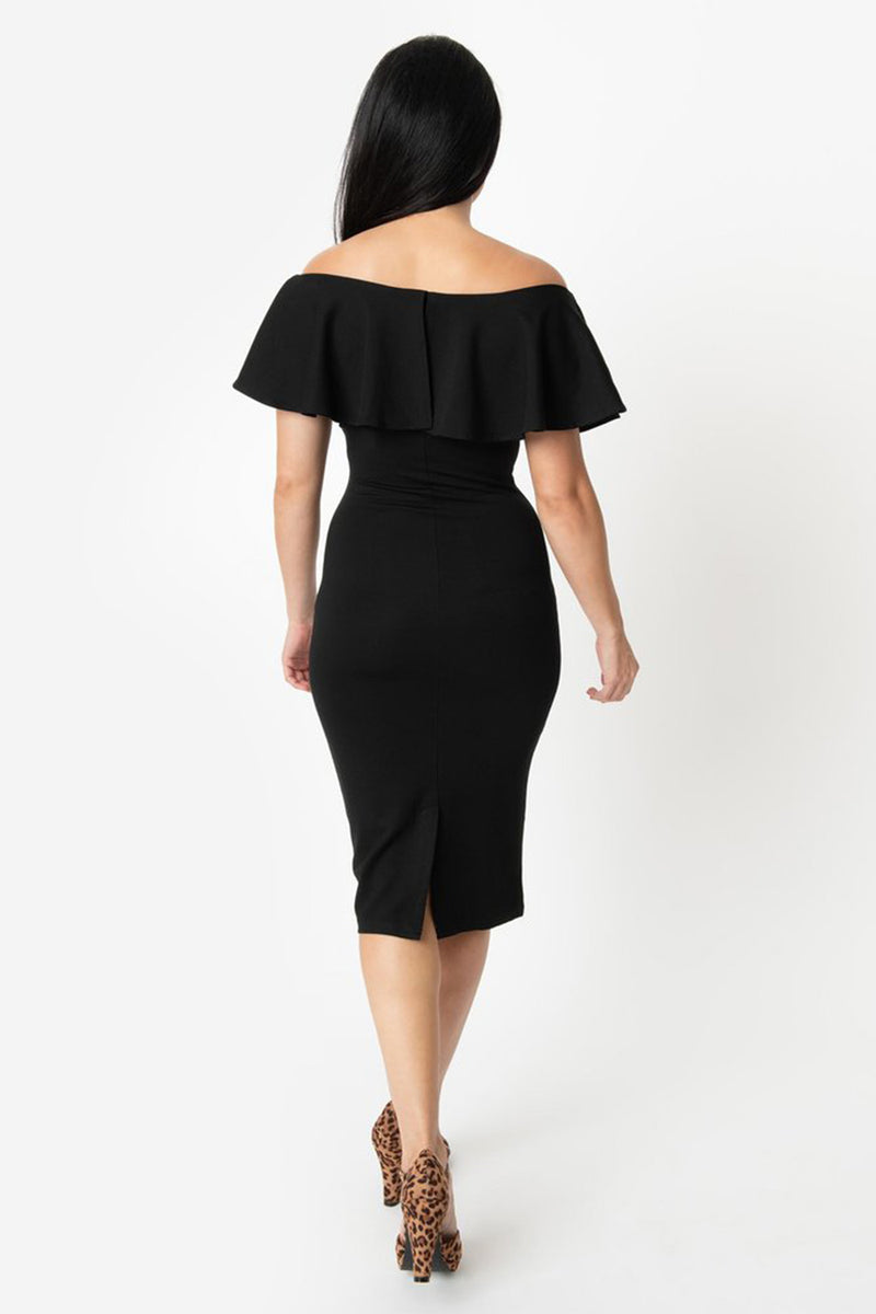 Black Off The Shoulder Ruffle Fitted Midi Dress