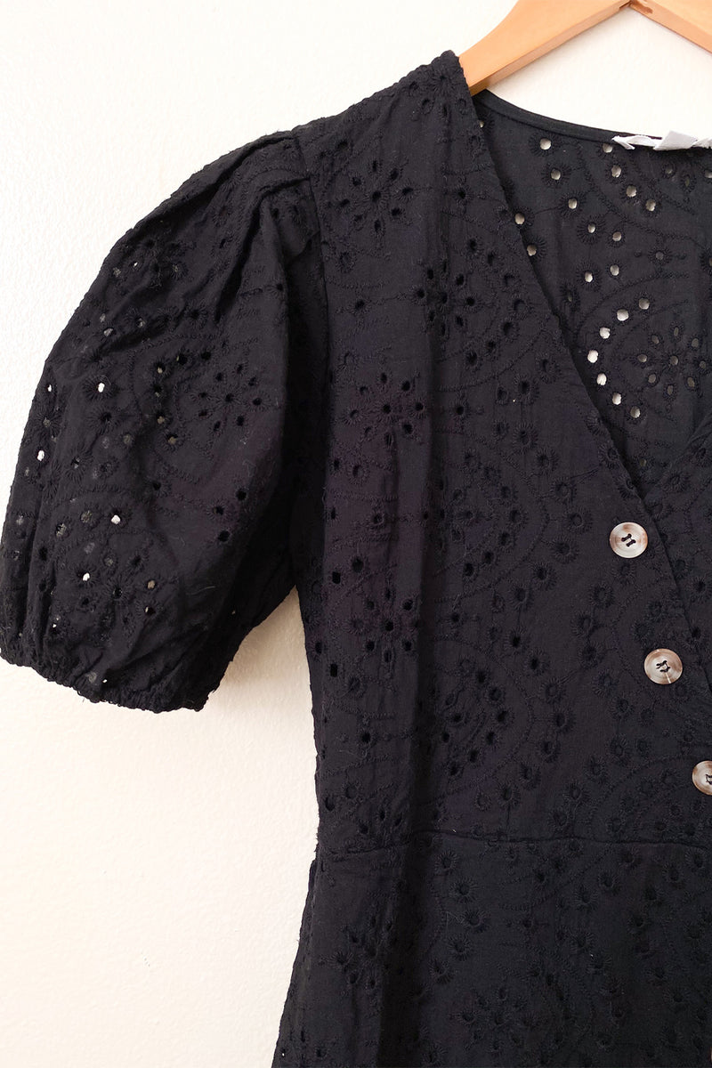 All Eyelets on You Black Eyelet Short Sleeve Dress with Button Detailing