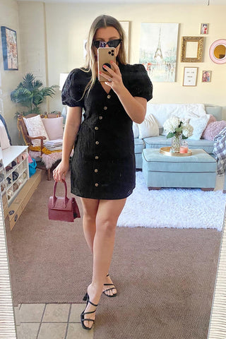 A Little Tied Up Black Scoop Neck Wrap Mini Dress