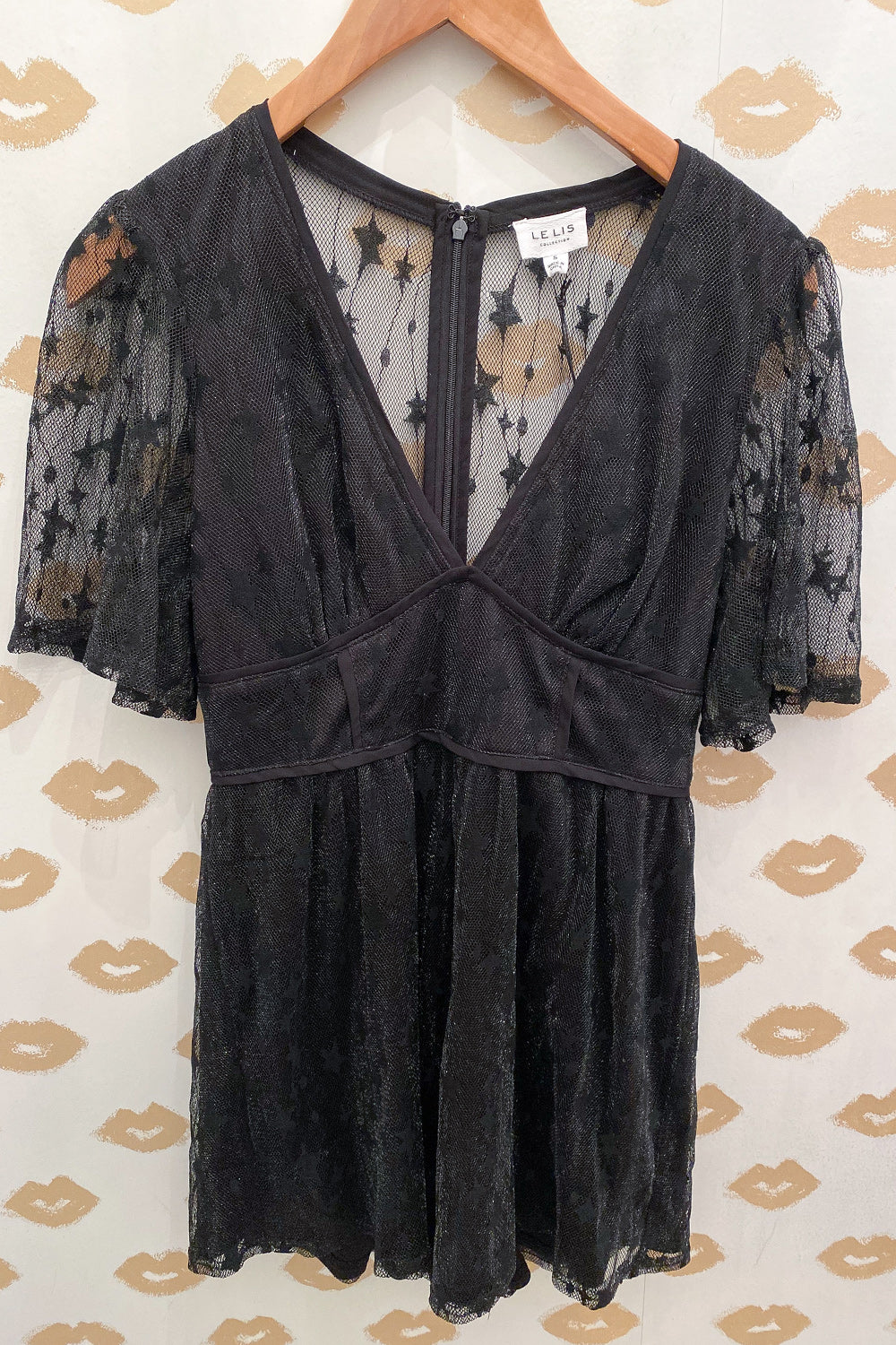 Be a Star Black Lace Overlay V Neck Romper